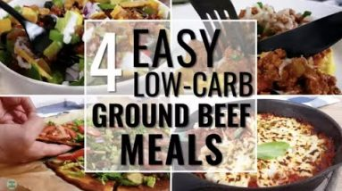 Cook ONCE, make 4 low-carb and keto MEALS! – Ground Beef 4 Ways – save time & money! ⏰ 💰