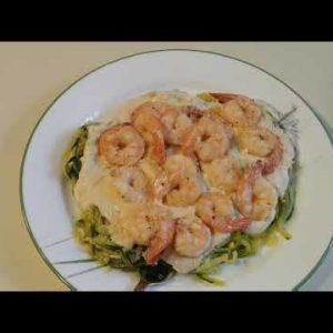 KETO Recipe Shrimp Alfredo with Zucchini Noodles
