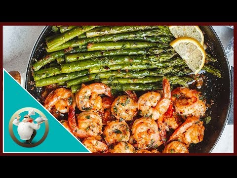 HOW TO MAKE LEMON GARLIC BUTTER SHRIMP RECIPE WITH ASPARAGUS
