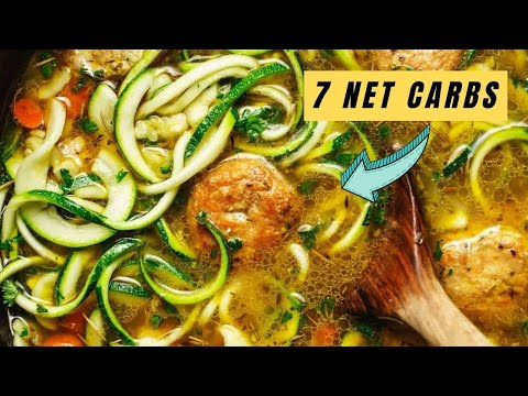 Keto Chicken Meatball Zoodle Soup