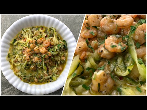 Low Carb Noodles Recipe | Garlic Shrimp Zucchini Noodles (Only 9g of Carbs)