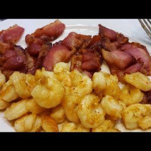 Shrimp in Bacon Fat.  Pass the salt shaker please! Keto diet recipe