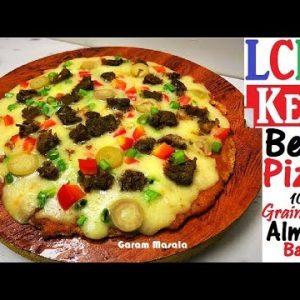 LCHF / Keto Beef Pizza ബീഫ് പിസ്സ Almond Based 100 % Grain Free