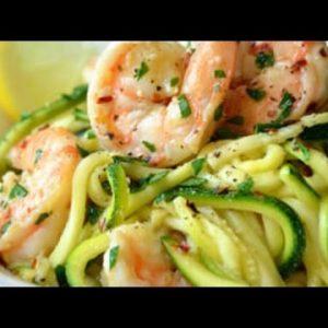 Paleo Diet Recipes – Low Carb Shrimp Scampi with Zucchini Pasta Recipe