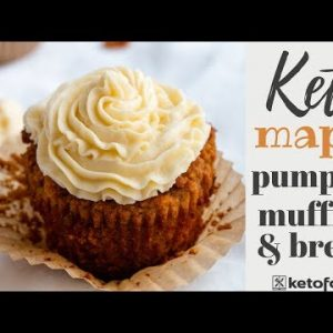 The BEST KETO PUMPKIN MUFFINS with Keto Cream Cheese Frosting | KETO PUMPKIN BREAD RECIPE