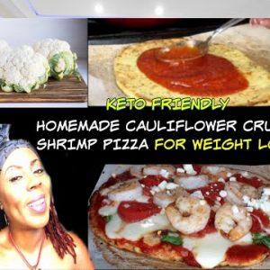 HOW TO MAKE A SHRIMP CAULIFLOWER CRUST PIZZA | KETO FRIENDLY RECIPE