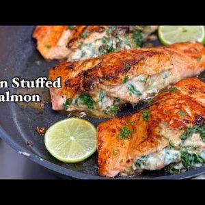 Stuffed Salmon Recipe || Cajun Stuffed Salmon with Shrimp and Spinach ||TERRI-ANN'S KITCHEN