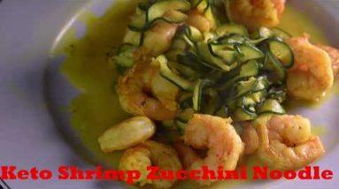 Keto Diet Recipe Low Carb Stir Fry Shrimp Zucchini Noodle with Power Anti-inflammatory Turmeric