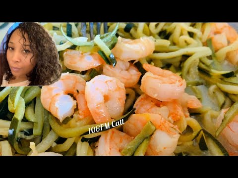 Cooking Shrimp Scampi using Zoodles (zucchini) | Keto Diet Friendly Meal