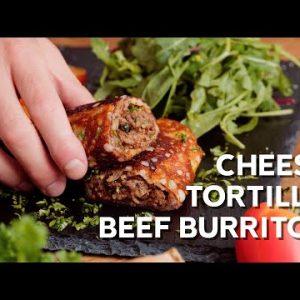 Keto cheese tortilla beef burritos