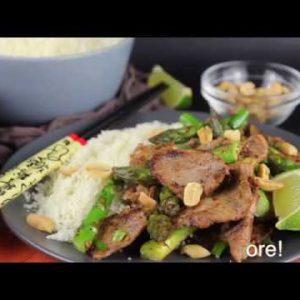 Keto Steak and Asparagus Stir Fry with Cauliflower Rice Low Carb Recipe