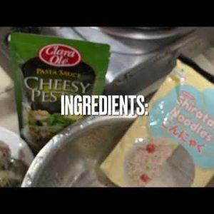 Low Carb Recipe(Shiratake Noodle Pesto Sauce with Shrimp)