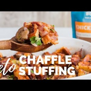 The Best CHAFFLE STUFFING – A Keto Thanksgiving Stuffing Recipe | LOW CARB HOLIDAY SIDE DISH