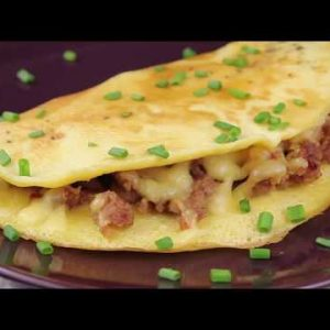 Minced Pork Omelette with Cheese Keto Low Carb Breakfast Recipe
