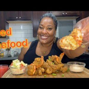 Fried Jumbo Tiger Shrimp + Catfish Nuggets Mukbang #ketoliciousness #ketomeals #seafoodmukbang 💜