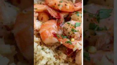 Garlic Butter Shrimp and Lemon Parmesan Cauliflower Rice Recipe  #shorts