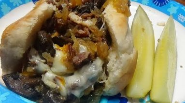 Recipe for Keto Philly Cheese Steak Sub Using Slow Cooker for Meat & Vegetables