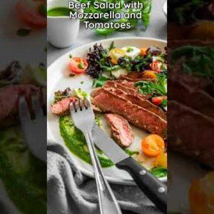 Steak Salad with Mozzarella and Tomatoes 🥩🥗🍅   Keto Recipes Low Carb #shorts #keto #lowcarb