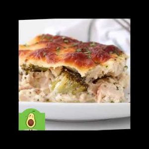 Chicken Alfredo Casserole with Broccoli Recipe 😋 – Low Carb Meals 👍#shorts