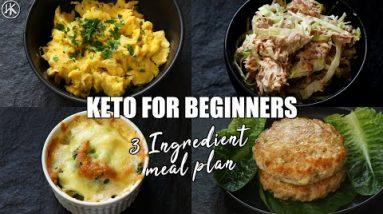 Keto for Beginners – 3 Ingredient Keto Meal Plan   How to start Keto   Free Keto Meal Plan