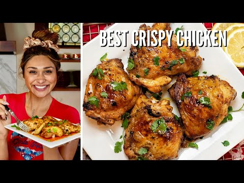BEST CRISPY CHICKEN! How to Make Keto Juicy Crispy Baked Chicken Thighs or Breasts | ONLY 1 CARB!